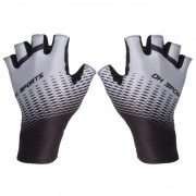 One Pair Half Finger Biking Gloves Shock-Absorbing Mountain Bike Gloves - Grey/Size: L