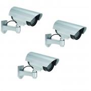 Merkloos 3x Dummy nep beveiligingscamera met ledlampje 17 cm beveiligingsmateriaal - Dummy beveiligingscamera
