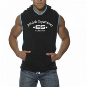 ES Collection Sleeveless Towel Hoody Sweater Black/Turquoise SP016