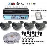 Kit videosorveglianza DVR p2p 1000Gb 4 Telecamere varifocali 2,8-12mm Cavo 100mt