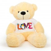 Peach 5 feet Big Teddy Bear wearing a Beautiful Love Design T-shirt