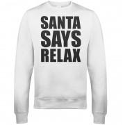 The Christmas Collection Sudadera Navidad Santa Says Relax - Hombre/Mujer - Blanco - S - Blanco
