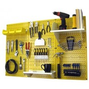 Wall Control 30-WRK-400 YW Pegboard Organizer 4' Metal Standard Tool Storage Kit with Yellow Tool Board and White Accessories