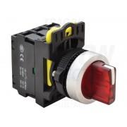 Comutator cu brat luminos,LED,rosu, 3 poz., cu revenire NYK3-SL34R 1×NO+1×NC, 5A/230V AC-15, IP65, LED 230V AC/DC