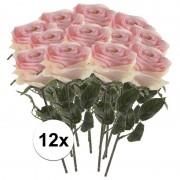 Bellatio flowers & plants 12x Licht roze rozen Simone kunstbloemen 45 cm