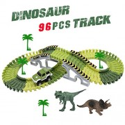 Track Toys Race Car Tracks with 96 Pieces Flexible Tracks Set 2 Dinosaurs and Military Vehicles 4 Trees&2 Slopes for children's Gift by ACTRINIC