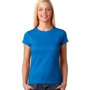 Señoras Suave Estilo De Manga Corta Con Cuello Redondo De La Camiseta (azul)
