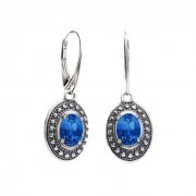 Srebrne kolczyki z kryształem Swarovskiego K 1990 : Kolor - Sapphire