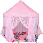 E-Joy Kids Indoor/Outdoor Play Fairy Princess Castle Tent, Portable Fun Perfect Hexagon Large Playhouse Toys For Children X-Large, Pink
