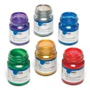 Kreul Metallic Acrylic Paints - 6 x 50ml Jars of Water-based Acrylic Paint In Metallic Colours - Gold, Silver, Red, Green, Blue & Purple.