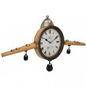 [en.casa]® Nástěnné hodiny ve tvaru starého letadla - analogové - 86 x 6 x 44 cm - barevné – sklo