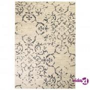 vidaXL Moderni tepih s cvjetnim uzorkom 140 x 200 cm bež/plavi