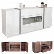 Kommode HWC-B47, Sideboard Anrichte Schrank, Glastür Push-to-open 170x42cm ~ Variantenangebot