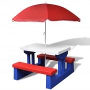 vidaXL Kids Picnic Table with Umbrella