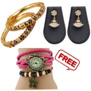 Pourni 2Bangles and exclusive gold Plated Designer Pearl Jhumka Earring with one freebies -combo-er29