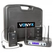Vonyx WM512H 2 canaux VHF Système Sans Fil avec Bodypacks et Display