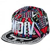 WB-09241 patron de la letra hip-hop sombrero - negro + multi-color