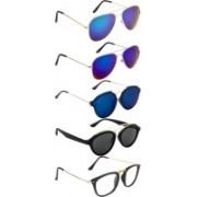 NuVew Aviator, Oval, Rectangular, Round Sunglasses(Blue, Clear, Grey, Green, Blue)