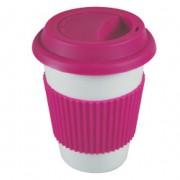 "'Easy to go"": Porcelain coffee mug Pink"