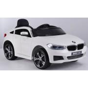 Mașină electrică BMW 6GT - alb, original, licențiat, uși care se deschid, 1 scaun, 2x motoare, baterie 2x 6V/4 Ah, telecomanda 2.4 Ghz, roti soft EVA, pornire ușoară