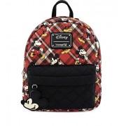 Loungefly x Mickey Mouse Mini mochila a cuadros, Rojo, Una talla