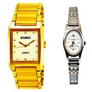 SONIC GOLDEN CHAIN RECTANGULAR(WHITE)DIAL MEN AND LADIES SILVER CHAIN WATCHES