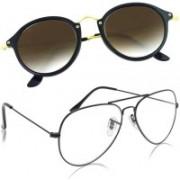 Phenomenal Aviator, Cat-eye Sunglasses(Clear, Brown)