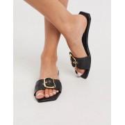 ASOS DESIGN Floral premium statement leather mule sandals in black - female - Black - Size: 7