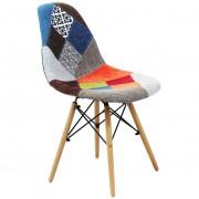 Milani Home sedia moderna in tessuto patchwork con gambe in legno