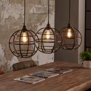 LUMZ Industriele tafellamp met drie roestbruine ronde kappen