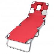 vidaXL Сгъваем шезлонг с възглавница и регулируема облегалка, червен