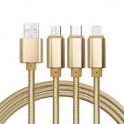 Cablu De Date 3 In 1 Iphone 5/6 + Micro Usb + Type C Auriu pt Telefon Tableta