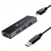 Хъб 4-портов J5 Create JUH340 USB 3.0, 1:4,Черен