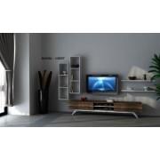 Comoda Tv din pal New Life Homs Alb/Nuc 180 X 43 X 37.5 cm