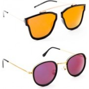 TheWhoop Aviator, Round Sunglasses(Orange, Violet)