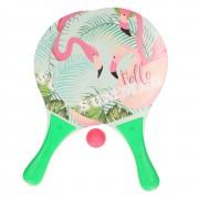 Merkloos Groene beachball set met flamingoprint buitenspeelgoed