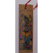 A beautiful pattachitra screen printed book mark made of palm leaf depicting Lord Siva.