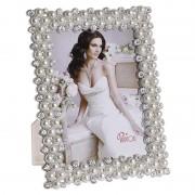 Rama foto alba cu perle, 20x25cm