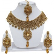 Lucky Jewellery Patwa LCT Golden Color Stone Antique Plating Necklace Set For Girls & Women