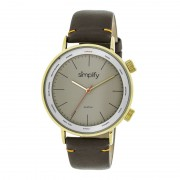 Simplify The 3300 Leather-Band Watch - Gold/Grey/Dark Brown SIM3305