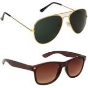 Marabous Aviator, Wayfarer Sunglasses(Green, Brown)