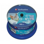 CD-R lemez, nyomtatható, matt, no-ID, AZO, 700MB, 52x, hengeren, VERBATIM (CDV7052B50N)