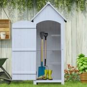 Outsunny® Holz Gartenschrank Gerätehaus Holzhütte Giebeldach Bitumenpappe Weiß 77,5 x 54,2 x 179,5 cm