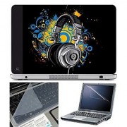 FineArts Laptop Skin Headphone Vector With Screen Guard and Key Protector - Size 15.6 inch