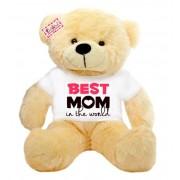 2 feet big peach teddy bear wearing Best Mom in the world T-shirt