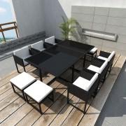 vidaXL Градински комплект с възглавници, 11 части, черен полиратан