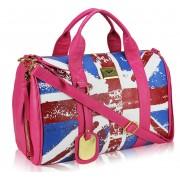 Kabelka LS00148F- Pink Union Jack Barrel Bag With Long Strap