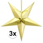Geen 3x Gouden sterren 30 cm Kerst decoratie/versiering