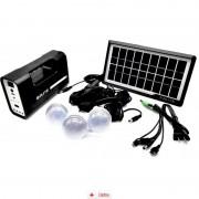 Sistem Iluminare LED cu Incarcare Solara, 3 Becuri LED si Lampa Portabila GD-1 + Lanterna 9LED