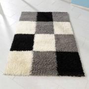 Hochflor Teppich in Grau Weiß Karo Muster